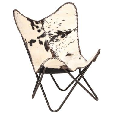 vidaXL Chaise papillon Noir et blanc Cuir véritable de chèvre[10/12]