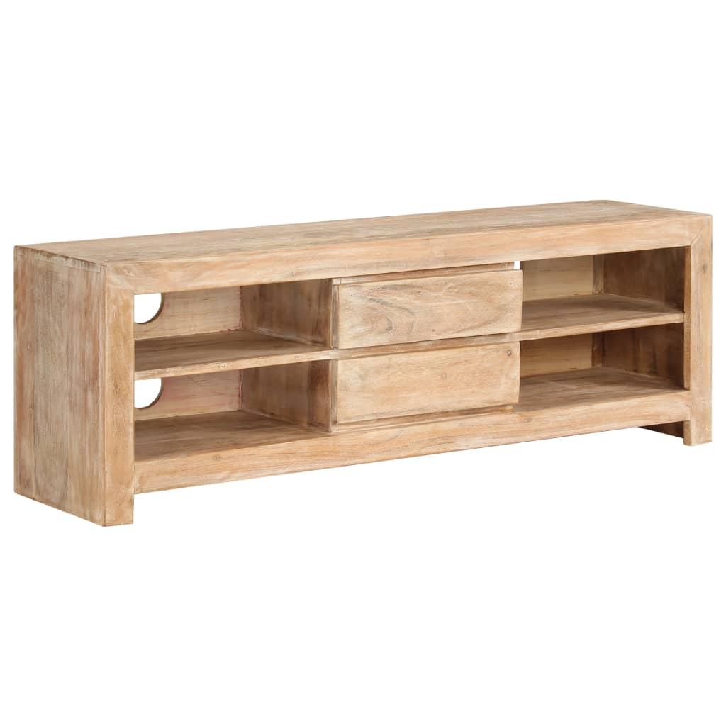 vidaXL Comodă TV, lemn masiv de acacia, 120 x 30 x 40 cm, maro deschis poza vidaxl.ro
