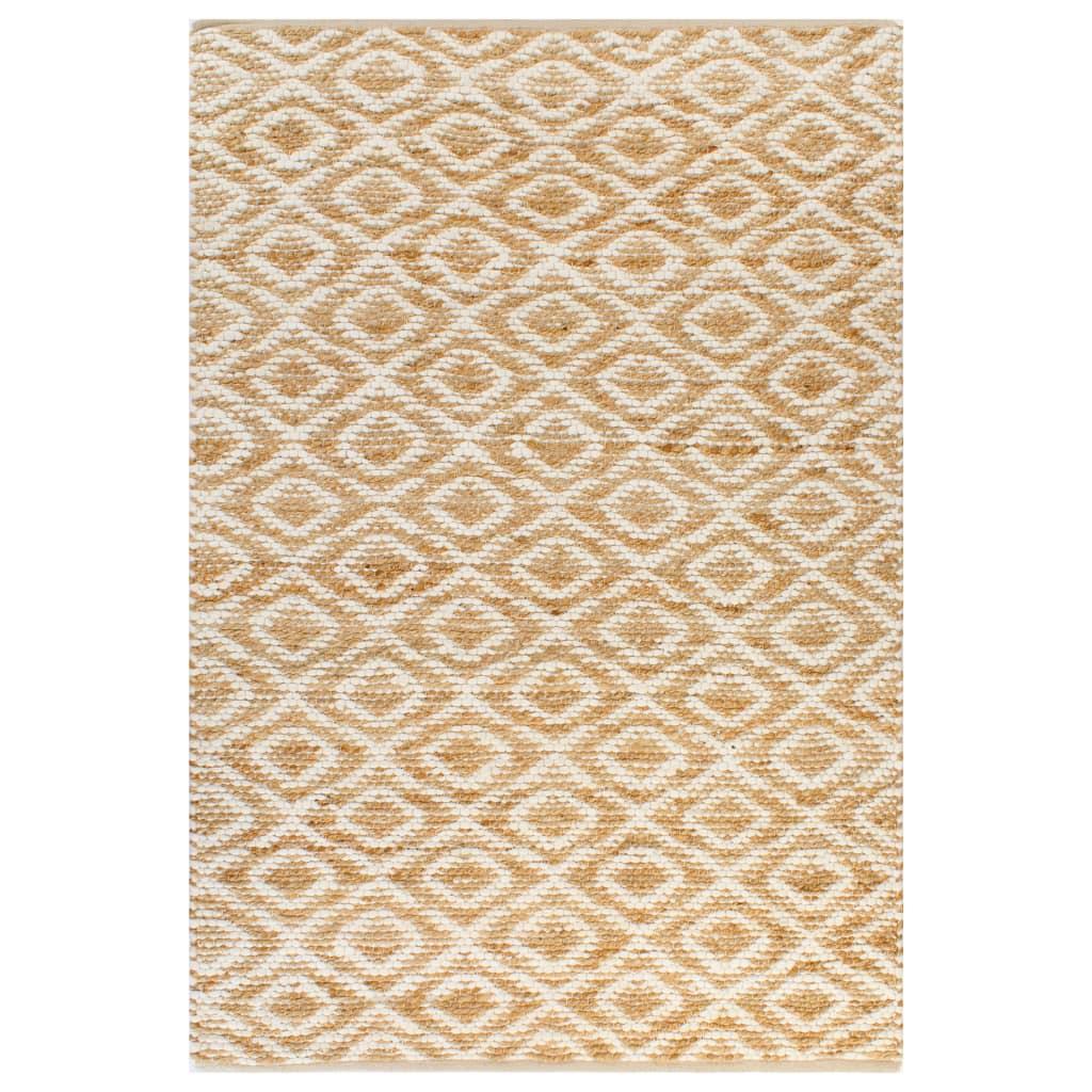 999133209 Handgewebter Teppich Jute Stoff 120 x 180 cm Natur und Weiß