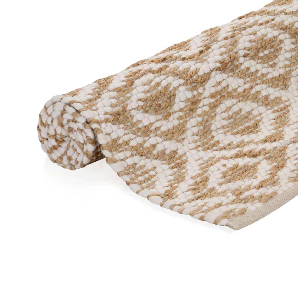 vidaXL Ručně tkaný kusový koberec z juty 120 x 180 cm přírodní a bílý