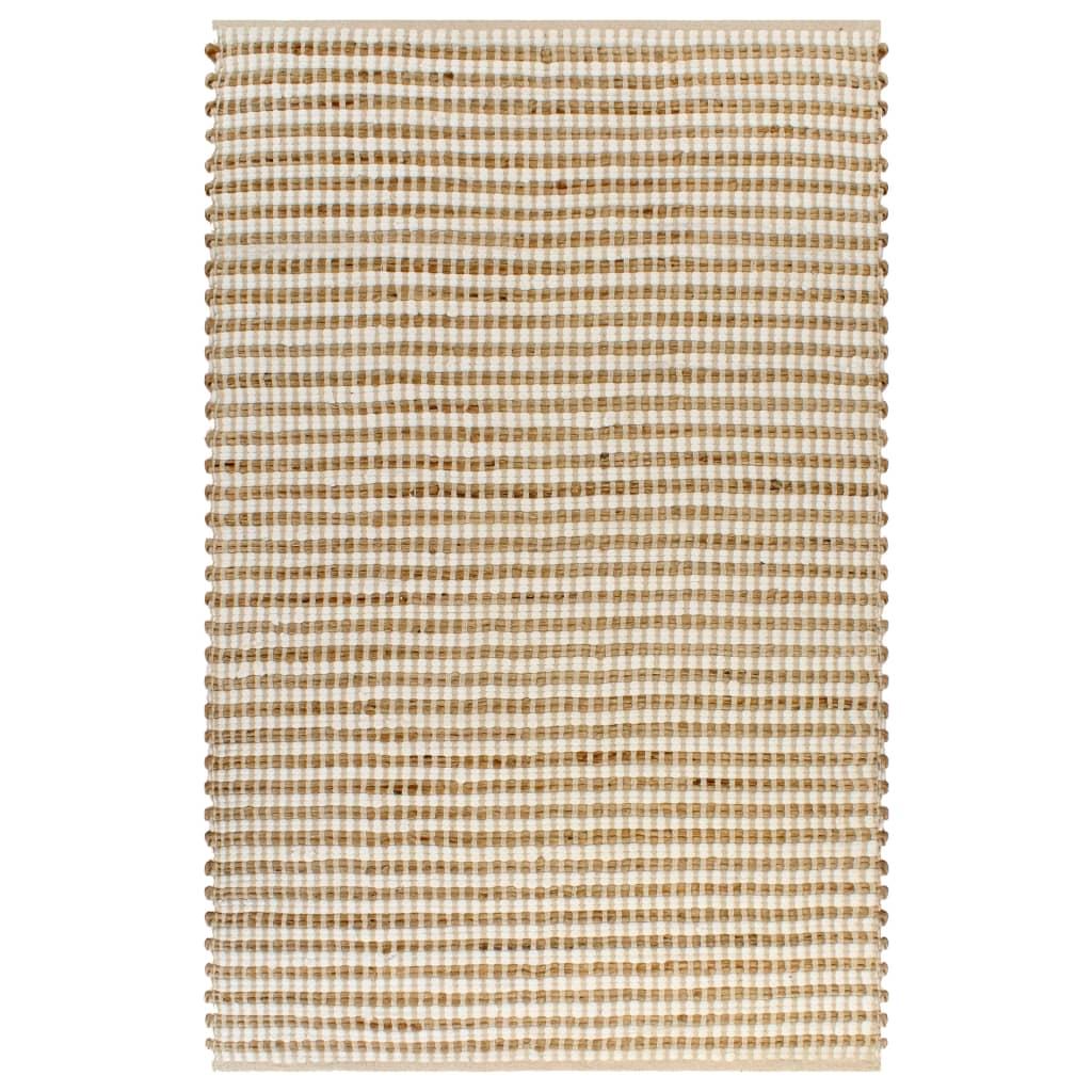 999133213 Handgewebter Teppich Jute Stoff 120 x 180 cm Natur und Weiß