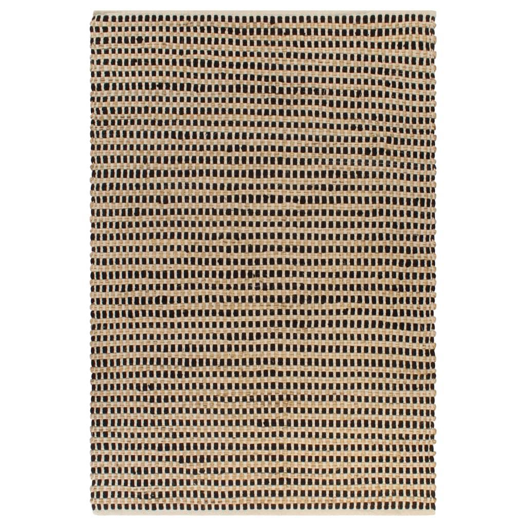 vidaXL Χαλί Χειροποίητο Φυσικό Χρώμα/Μαύρο 120 x 180 εκ. Υφαντή Γιούτα