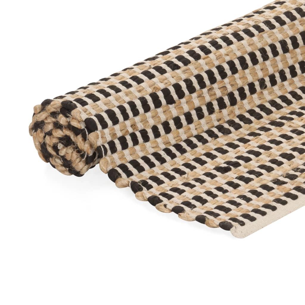 vidaXL Ručně tkaný kusový koberec z juty 120 x 180 cm přírodní a černý