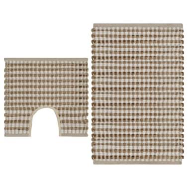 vidaXL Hand-Woven Jute Bathroom Mat Set Fabric Natural and White[1/5]