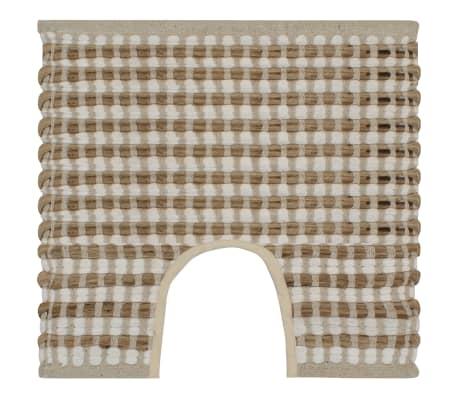 vidaXL Hand-Woven Jute Bathroom Mat Set Fabric Natural and White[3/5]