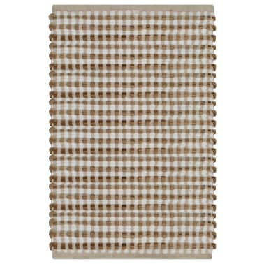 vidaXL Hand-Woven Jute Bathroom Mat Set Fabric Natural and White[2/5]