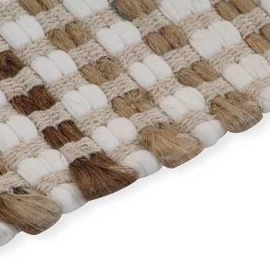 vidaXL Hand-Woven Jute Bathroom Mat Set Fabric Natural and White[4/5]