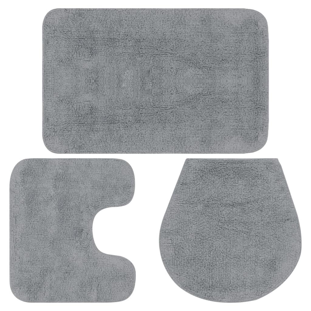 Sada koupelnových předložek 3 kusy textilní šedá