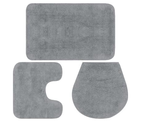 vidaXL Conjunto tapetes de casa de banho 3 pcs tecido cinzento