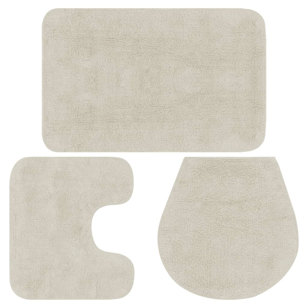 Sada koupelnových předložek 3 kusy textilní bílá