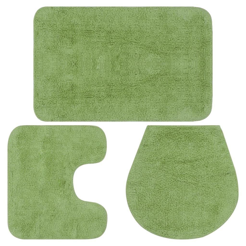 vidaXL Sada koupelnových předložek 3 kusy textilní zelená