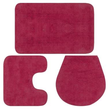 vidaXL Vonios kilimėlių rinkinys, 3d., fuksijos spalvos, audinys[1/5]
