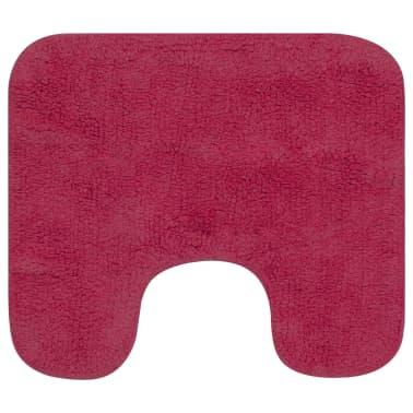 vidaXL Vonios kilimėlių rinkinys, 3d., fuksijos spalvos, audinys[3/5]