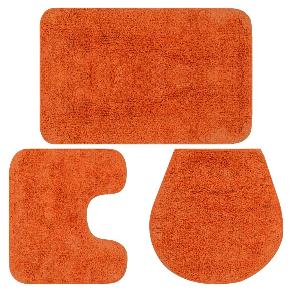 Sada koupelnových předložek 3 kusy textilní oranžová
