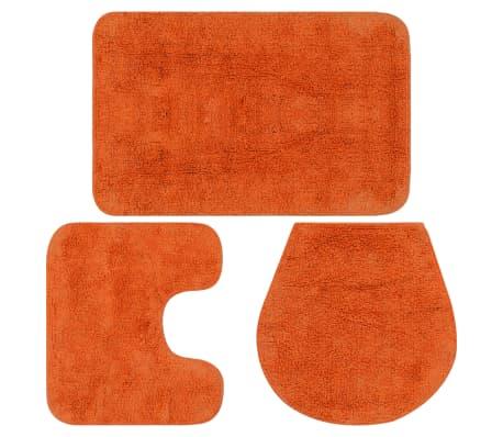 vidaXL Vonios kilimėlių rinkinys, 3d., oranžinis, audinys[1/5]