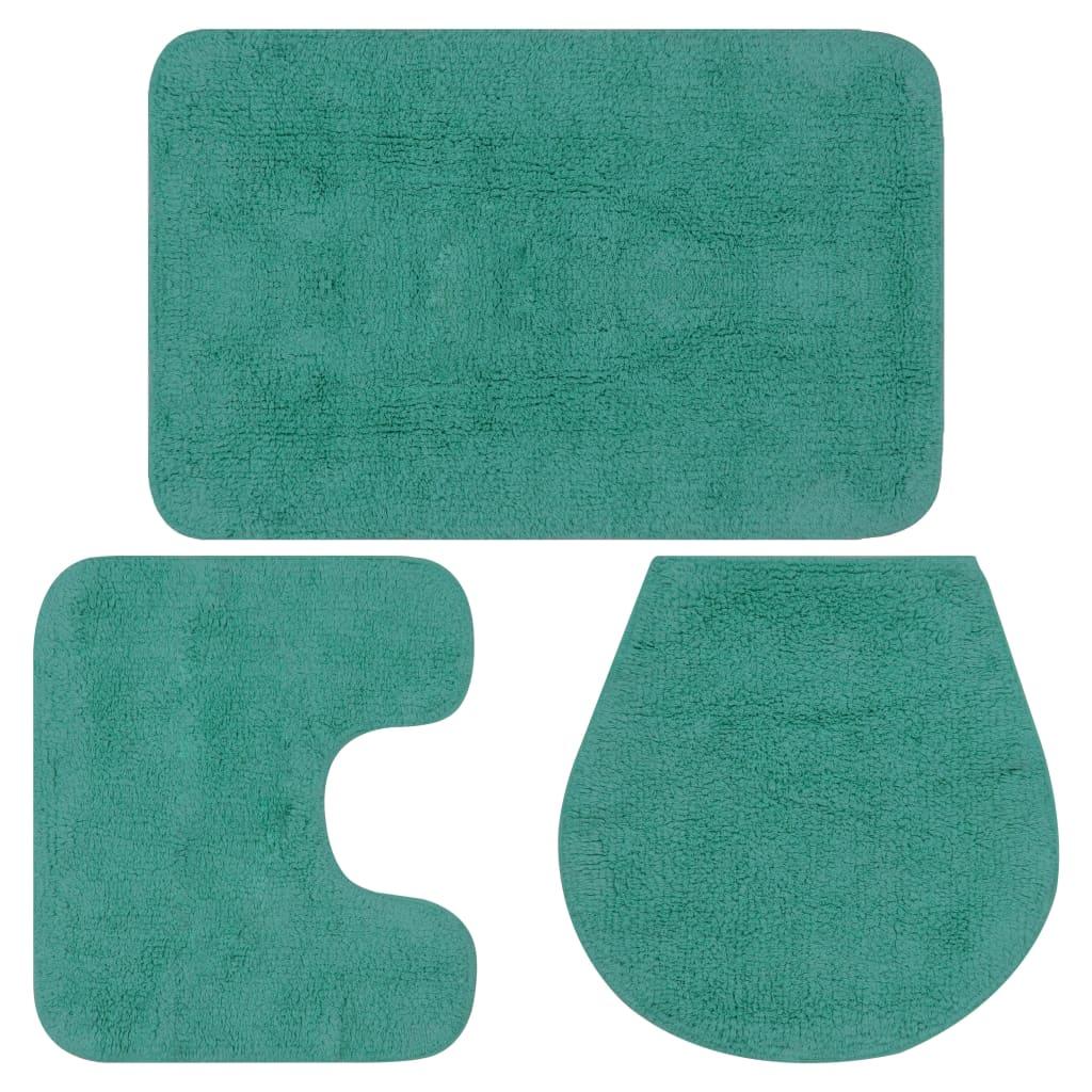 Sada koupelnových předložek 3 kusy textilní tyrkysová