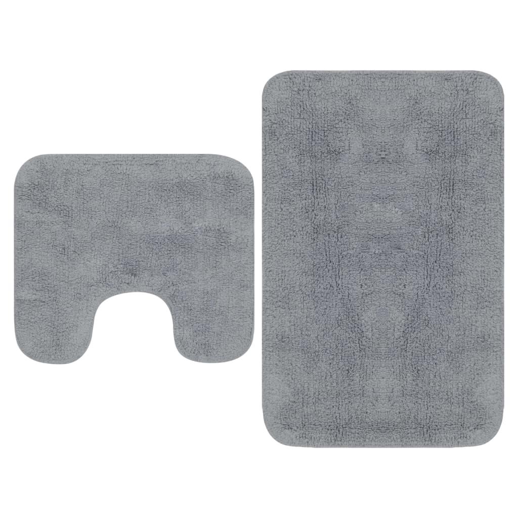 Sada koupelnových předložek 2 kusy textilní šedá