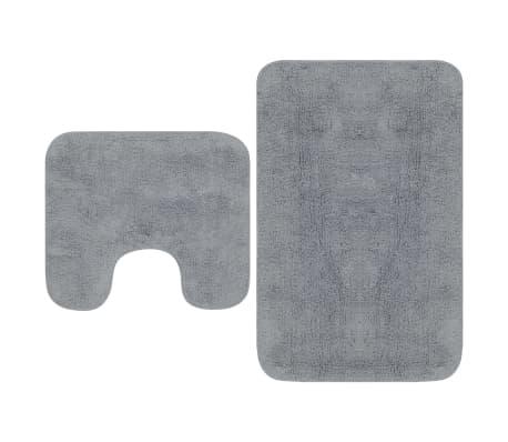 vidaXL Conjunto tapetes de casa de banho 2 pcs tecido cinzento
