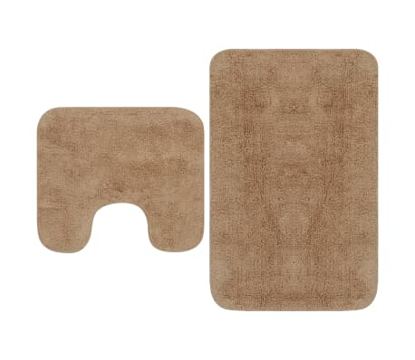 vidaXL Conjunto tapetes de casa de banho 2 pcs tecido bege