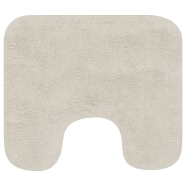 vidaXL Jeu de tapis de salle de bain 2 pcs Tissu Blanc[3/5]