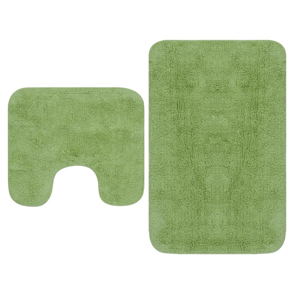 Sada koupelnových předložek 2 kusy textilní zelená