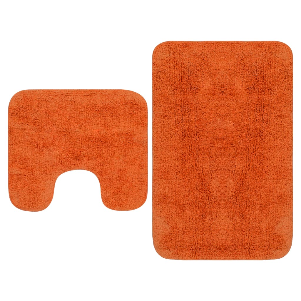 Sada koupelnových předložek 2 kusy textilní oranžová