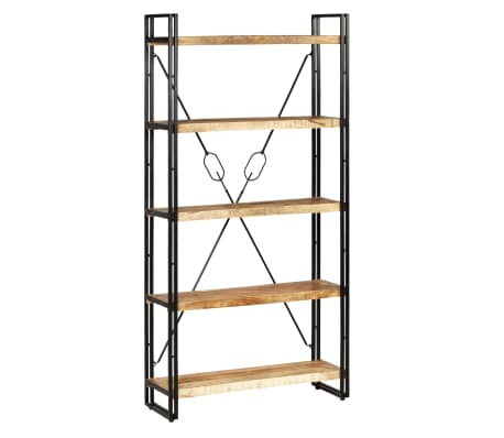 "vidaXL 5-Tier Bookcase Solid Mango Wood and Steel 35.4""x11.8""x70.9"""