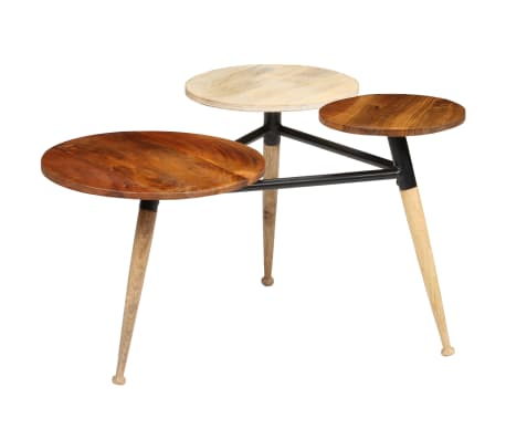 vidaXL Coffee Table Solid Mango Wood and Steel 89x77x52 cm[1/18]
