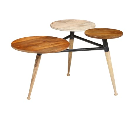 vidaXL Coffee Table Solid Mango Wood and Steel 89x77x52 cm[14/18]