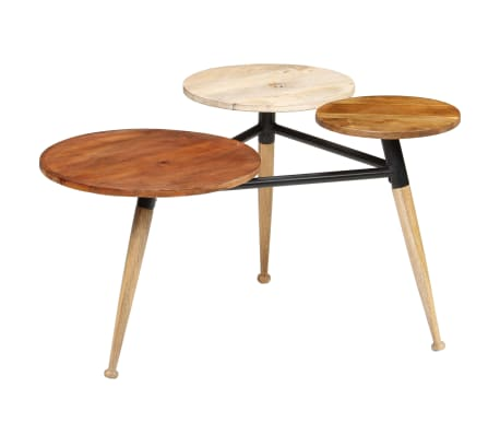 vidaXL Coffee Table Solid Mango Wood and Steel 89x77x52 cm[15/18]