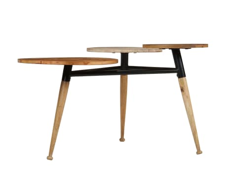 vidaXL Coffee Table Solid Mango Wood and Steel 89x77x52 cm[3/18]