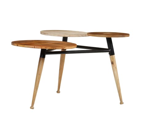 vidaXL Coffee Table Solid Mango Wood and Steel 89x77x52 cm[4/18]