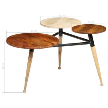 vidaXL Coffee Table Solid Mango Wood and Steel 89x77x52 cm[17/18]