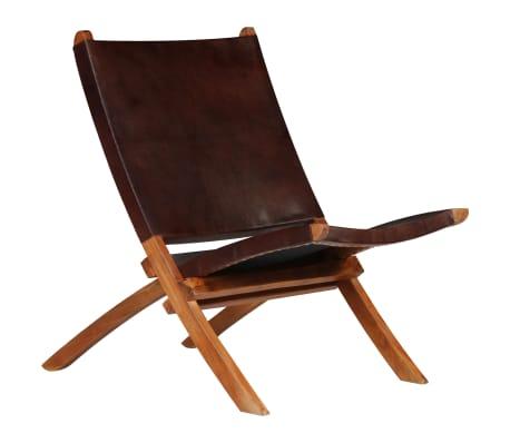 vidaXL Chaise de relaxation pliable Marron Cuir véritable[1/16]