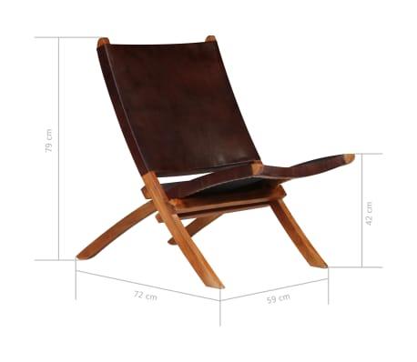 vidaXL Chaise de relaxation pliable Marron Cuir véritable[11/16]