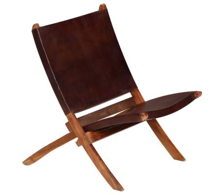 vidaXL Chaise de relaxation pliable Marron Cuir véritable[13/16]