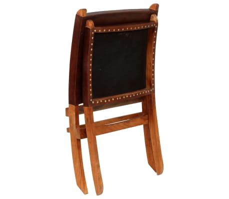 vidaXL Chaise de relaxation pliable Marron Cuir véritable[4/16]
