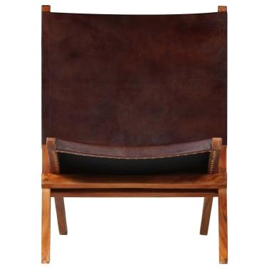 vidaXL Chaise de relaxation pliable Marron Cuir véritable[2/16]