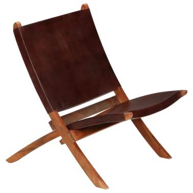 vidaXL Chaise de relaxation pliable Marron Cuir véritable[12/16]