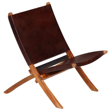 vidaXL Chaise de relaxation pliable Marron Cuir véritable[14/16]
