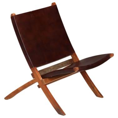 vidaXL Chaise de relaxation pliable Marron Cuir véritable[15/16]