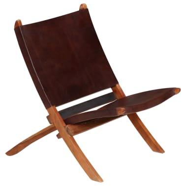 vidaXL Chaise de relaxation pliable Marron Cuir véritable[16/16]