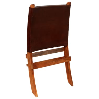 vidaXL Chaise de relaxation pliable Marron Cuir véritable[5/16]