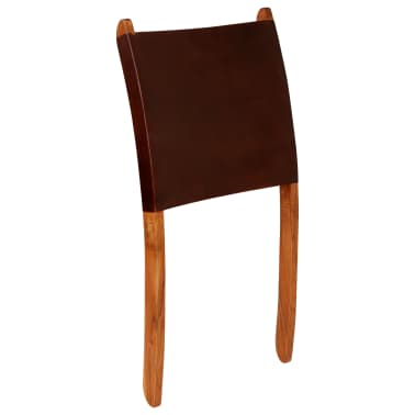 vidaXL Chaise de relaxation pliable Marron Cuir véritable[6/16]