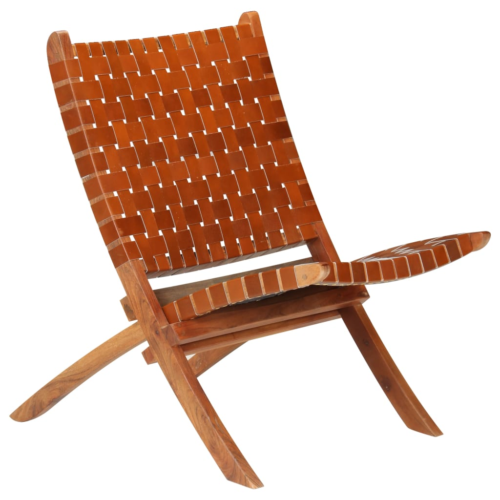 vidaXL Relaxstoel gekruiste strepen 59x72x79 cm echt leer bruin