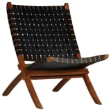 vidaXL Chaise de relaxation Cuir véritable 59x72x79 cm Bandes Noir