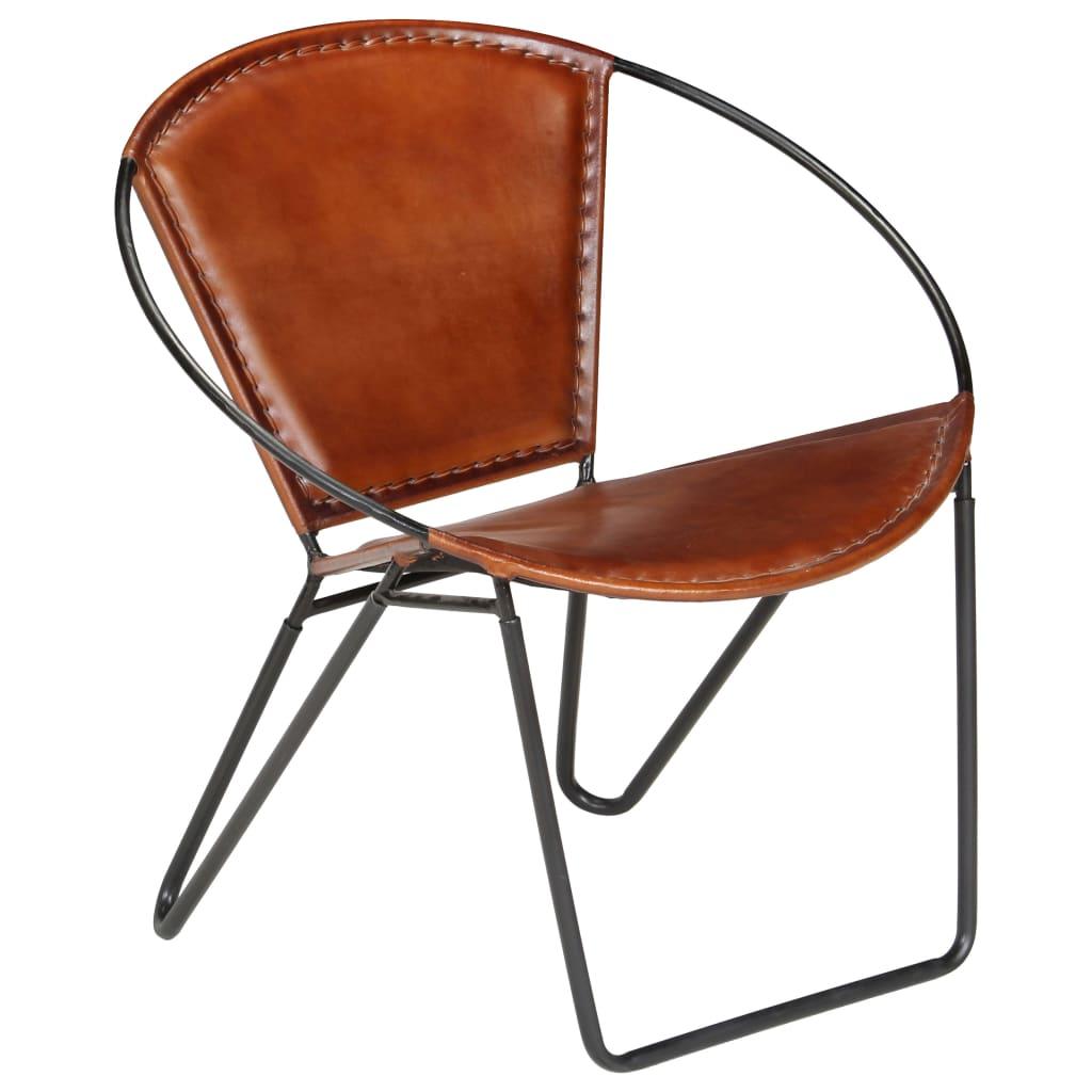 vidaXL Relaxační židle z pravé kůže 69 x 69 x 69 cm hnědá