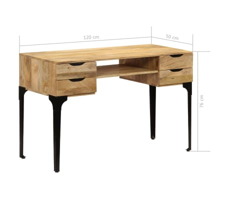vidaXL Rašomasis stalas, mango medienos masyvas, 120x50x76cm[14/14]