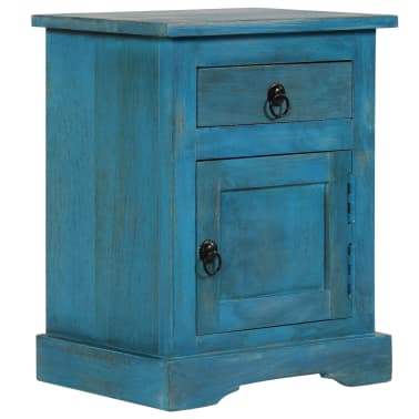 vidaXL Noptieră, albastru, 40 x 30 x 50 cm, lemn masiv de mango[1/14]