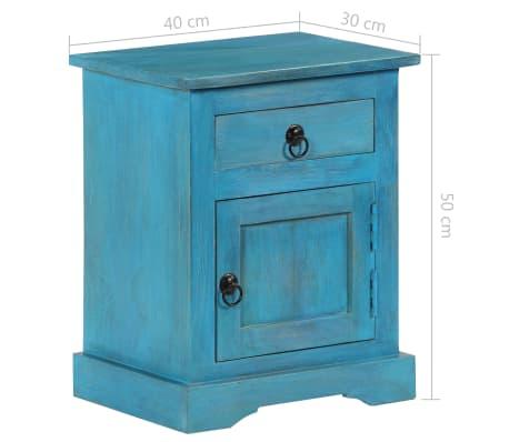 vidaXL Noptieră, albastru, 40 x 30 x 50 cm, lemn masiv de mango[12/14]